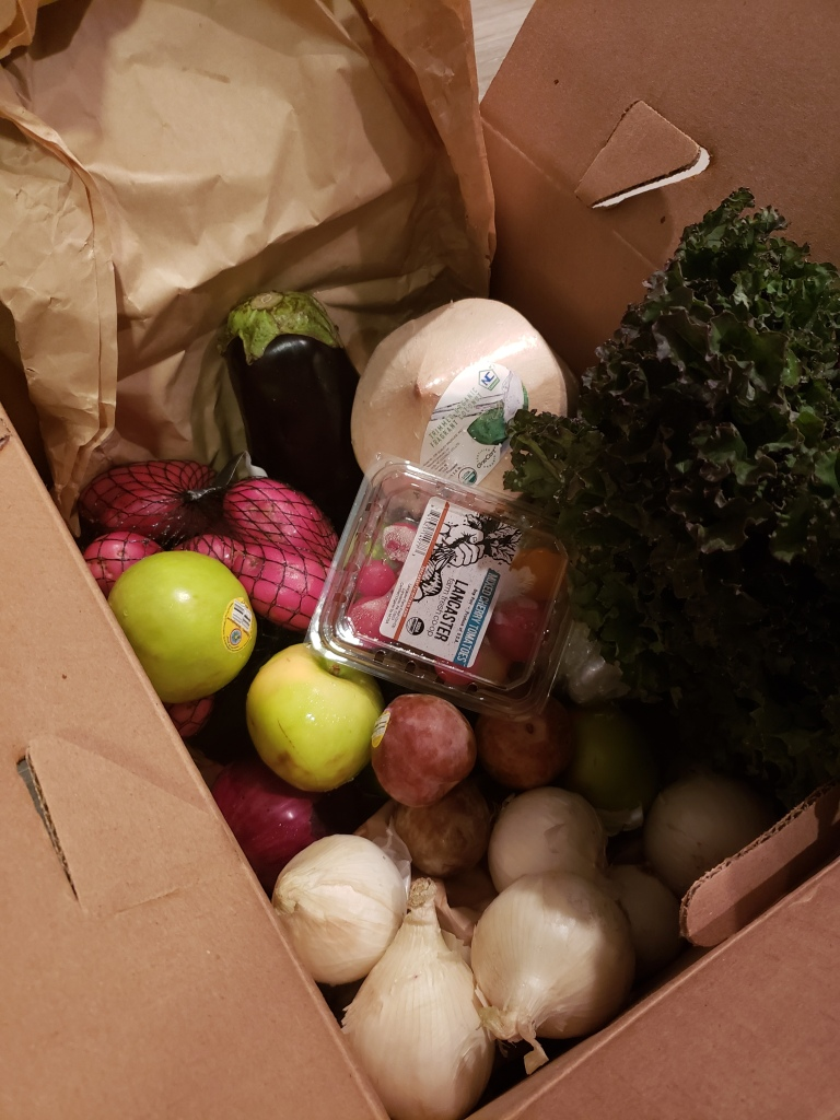 Red potatoes, eggplant, white coconut, red leaf lettuce, white onions, pluots, green apples and cherry tomatoes.