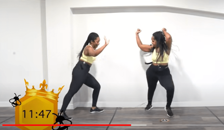 Sisters Danielle and Dom dancing during their BEYHIVE 20-minute cardio dance workout.